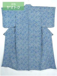 藍染の単衣小紋