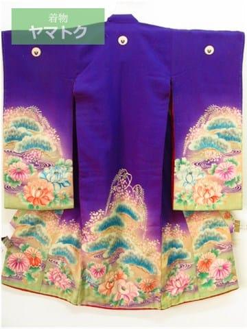 錦紗縮緬の紫色の子供着物