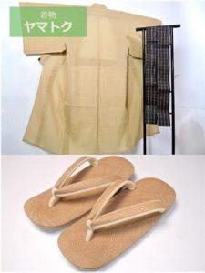 パナマ草履セットの単衣着物
