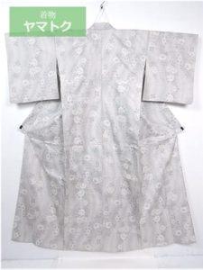 白大島紬の芍薬単衣着物
