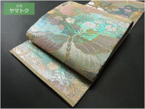 撫子揚羽蝶文の袋帯
